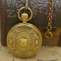 Bronze Copper Brass Mechanical Man Pocket Watch New Retro Vintage Classic Fob Watch Wholesale Good Quality Short Waist Chain