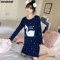 2019 Autumn 100% Cotton Nightgown for Women Long Sleeve Night dress Girl Cute Cartoon Sleepshirt Home Dress Sleepwear Nightdress