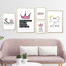 Sweet Fashion Queen Crown English Phrase Decoration Poster Wall Art Canvas Painting Home Picture