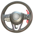 DG Black Leather Black Suede Car Steering Wheel Cover for Mazda CX-5 CX5 Atenza 2014 New Mazda 3 CX-3 2016 Scion iA 2016