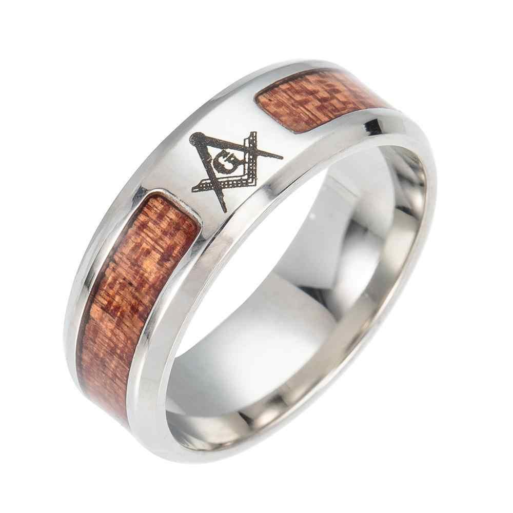 แฟชั่นบูติกใหม่แหวนสแตนเลส Tree Of Life ฝังด้วย Acacia ไม้ออกแบบบุคลิกภาพ Man และผู้หญิงแบรนด์แหวน
