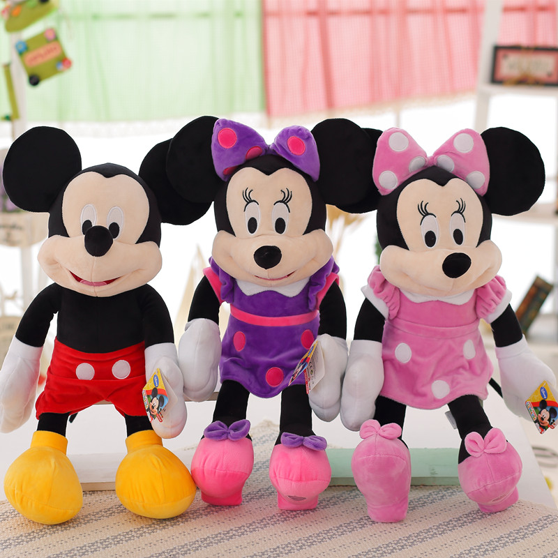 1pc New 50CM High Quality Mickey or Minnie Mouse Plush Toys for Kids Baby Christmas Gift Stuffed Cute Cartoon Animal Dolls 1pc 16cm mini kawaii animal plush toy cute rabbit owl raccoon panda chicken dolls with foam partical kids gift wedding dolls