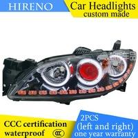 Hireno Custom Modified Headlamp For Mazda 3 Mazda3 2006 12 Headlight Assembly Car Styling Angel Lens