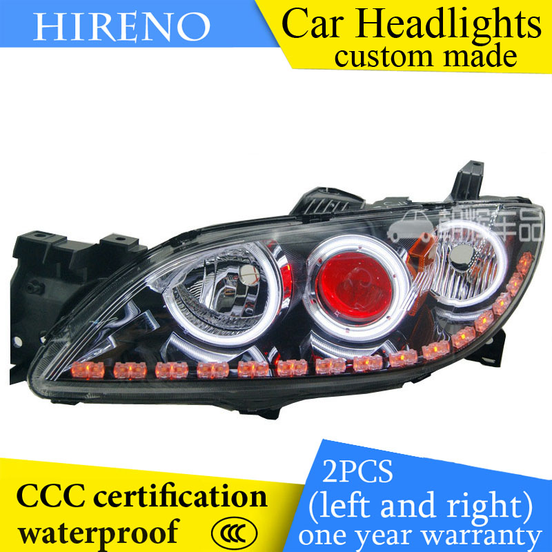 Hireno custom Modified Headlamp for Mazda 3 Mazda3 2006-12 Headlight Assembly Car styling Angel Lens Beam HID Xenon 2 pcs hireno headlamp for cadillac xt5 2016 2018 headlight headlight assembly led drl angel lens double beam hid xenon 2pcs