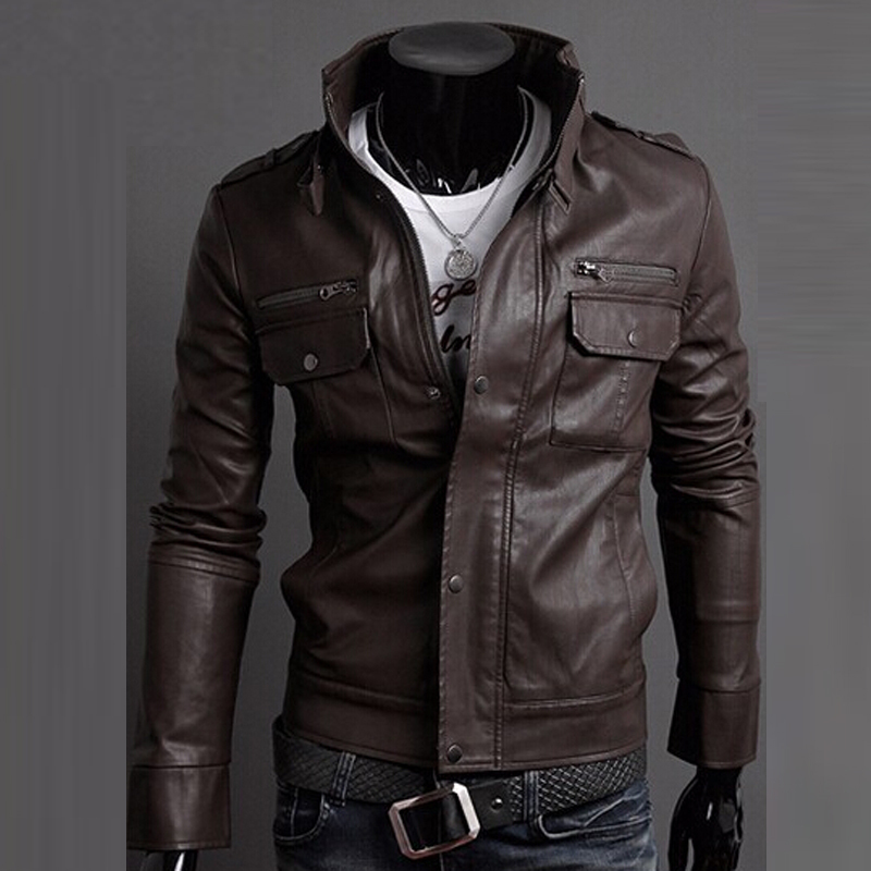 leather jacket men slim Picture - More Detailed Picture about HEE ...