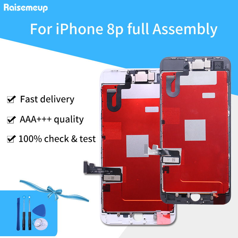 Grade A+++  Complete Assembled Touch Screen LCD Display Replacement parts Digitizer Pantalla for iphone 8 plus with free shipGrade A+++  Complete Assembled Touch Screen LCD Display Replacement parts Digitizer Pantalla for iphone 8 plus with free ship