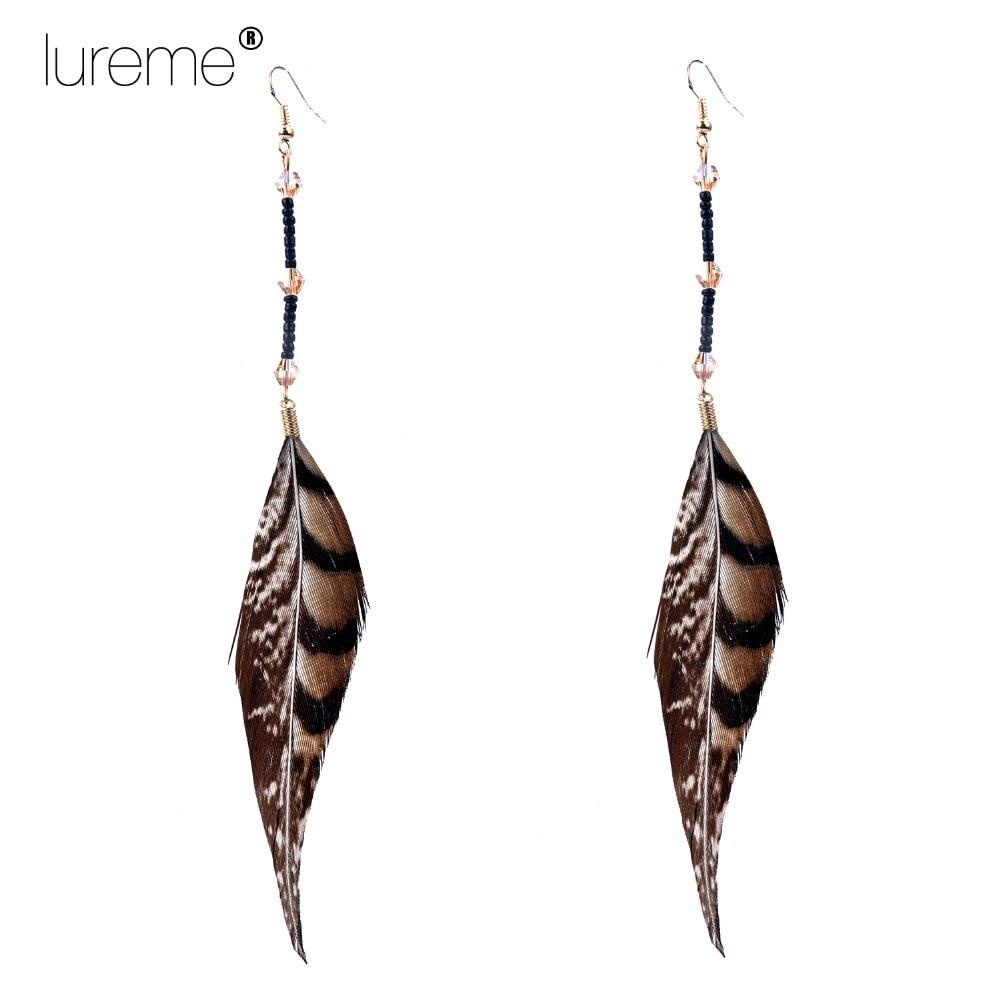 ab5b9106f38c Lureme Indiana estilo cristal Cuentas faisán Plumas gota Pendientes para  mujeres moda joyería elegante 2015 nuevo diseño
