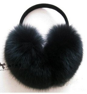 Black Fox Ear Muffs/cover/muffle +Free Shipping+Guaranteed 100% Genuine Leather