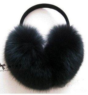 Black Fox Ear Muffs/cover/muffle +Free Shipping+Guaranteed 100% Genuine Leather