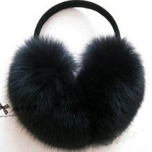 Black fox ear muffs/cover/muffle Free Shipping Guaranteed 100% Genuine Leather