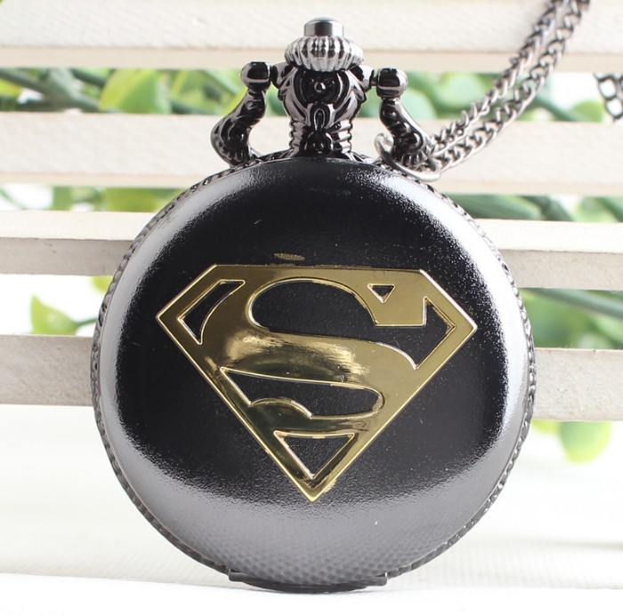 2019 Superman Cool Superman Black Case With Blue Dial Pendant Pocket Watch High Quality Men Necklace Pocket Watches Gift