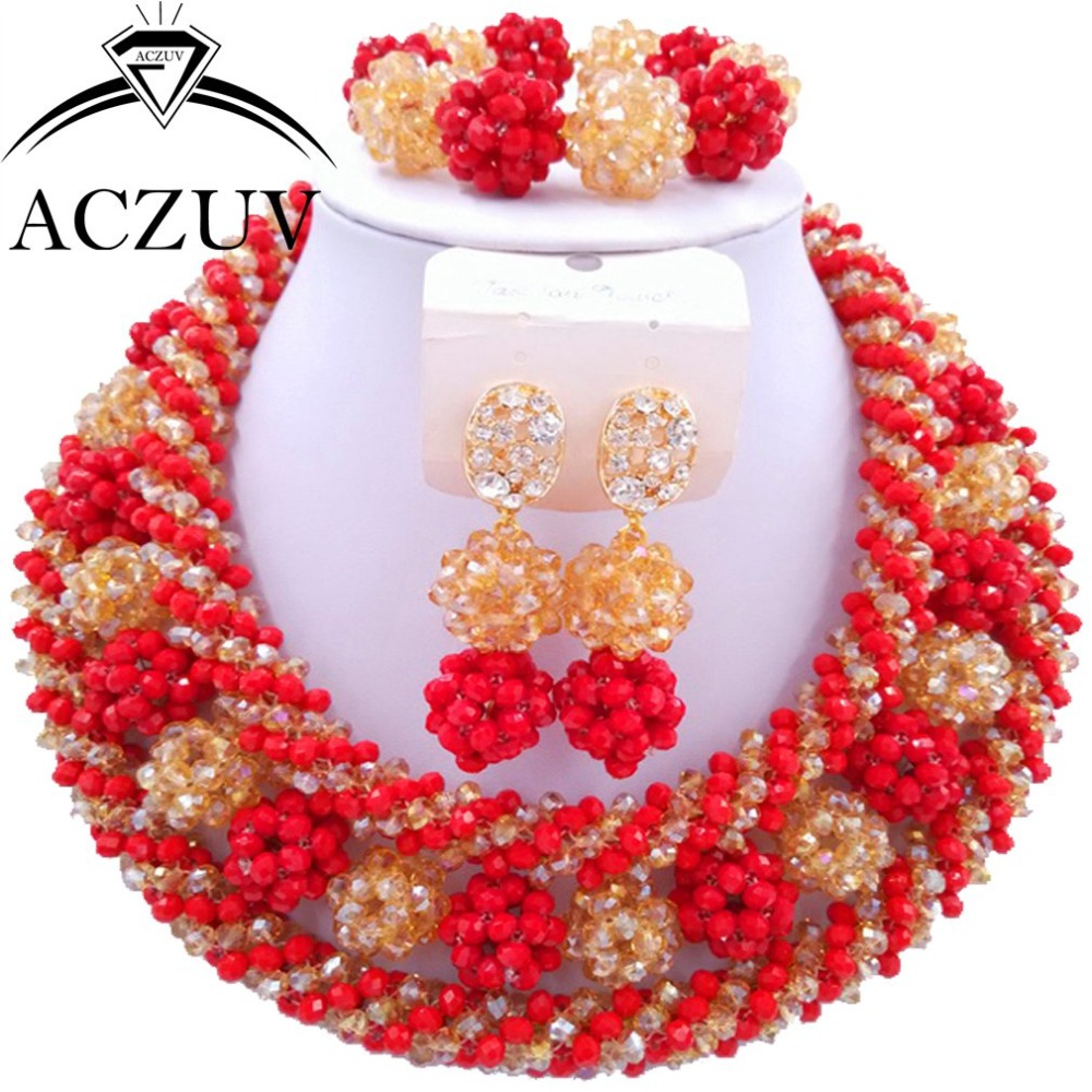 Red and Gold ab Crystal Beads Costume Jewelry Set Jewelry Sets Dubai AN009