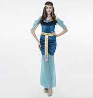 free shipping Blue Egyptian Goddess Dress Arab Girl Female Theme Costume Halloween Uniform Temptation Festival Performers Wear
