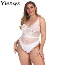 Yienws 2019 Plain White Bodysuit Women Summer Plus Size Jumpsuit Sexy Mesh Rompers Female 4XL Large of YiZ25