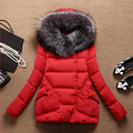 Autumn Winter Coat Women 2015 Parkas for women Thick Warm Wadded Jackets and coats Hood Large Faux Fur Collar  Outwear DX621