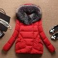 Mulheres Casaco de outono Inverno 2015 Parkas para as mulheres Quentes de Espessura Jaquetas e casacos Wadded Capuz Grande Gola de Pele Falso Outwear DX621