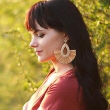 HOCOLE Handmade Bohemian Tassel Drop Earrings For Women Fashion Wood Rattan Knit Geometric Dangle Earring Statement Jewelry 2019