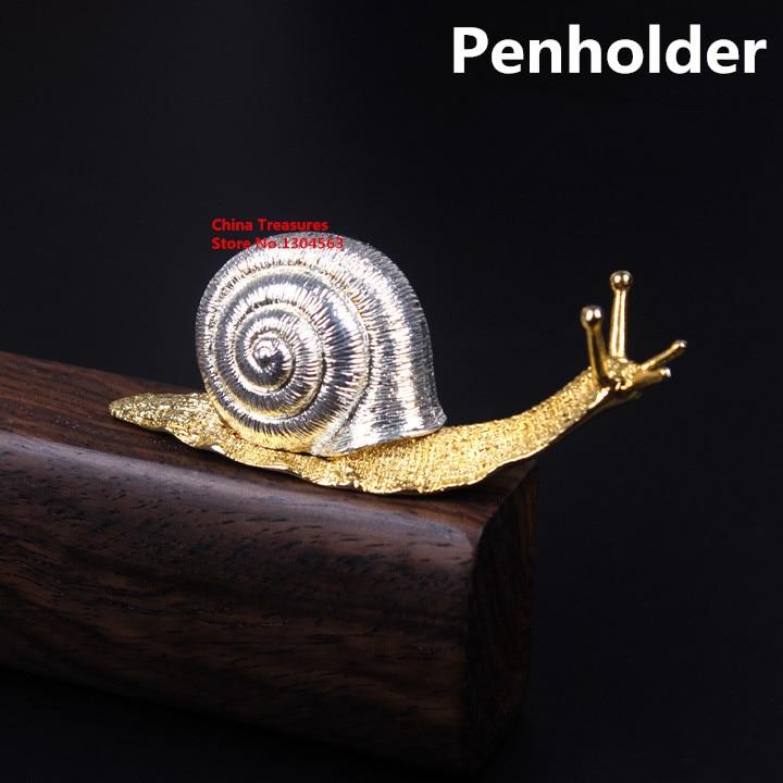 Small size,1piece Brush Rack Penholder for Calligraphy Brush Pen Holder Snail Penholder Copper alloy 7.5*2*2.8cm