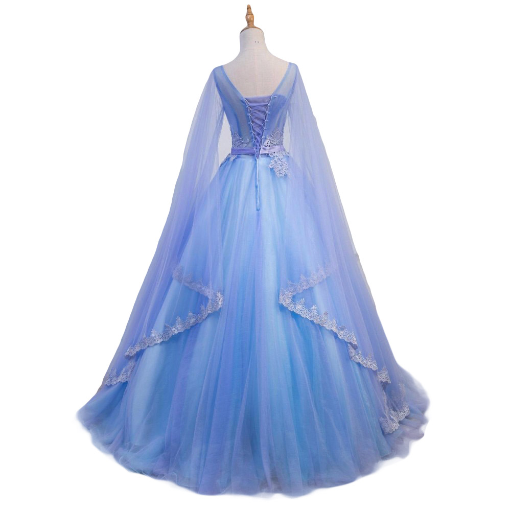 Gorgeous Medieval Wedding Dresses v Neck Blue And Purple Tulle ...