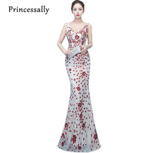 Pirncessally New Sequined Evening Dress Mermaid Wine Beading Flower Sexy  V-neck Elegant Bride Banquet Party Gown Robe De Mariage 70f26e52ccce