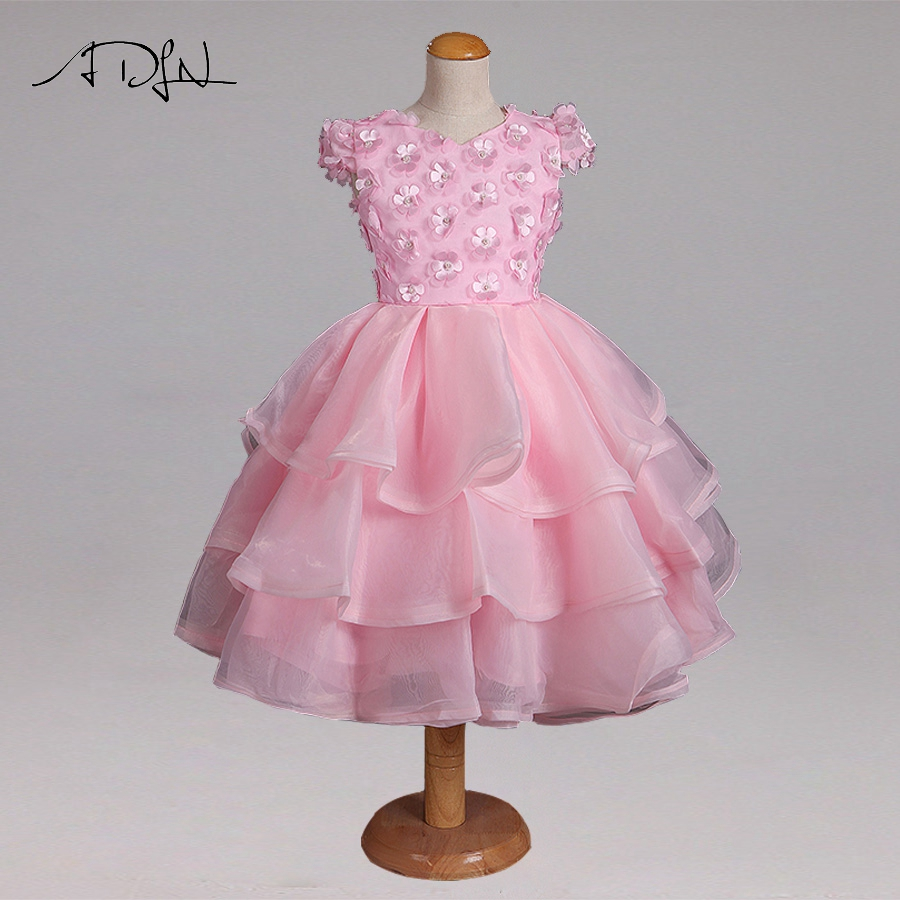 ADLN Pink Vintage Princess   Flower     Girl     Dresses   for Wedding   Flowers   Lace   Girl   Communion   Dress   Organza   Girl   Party Gowns