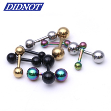 4pcs mix colors Ear Nail Clasp Bone Tragus Barbell Double Ball Piercing helix ear dumbbell medical stud earrings body jewelry