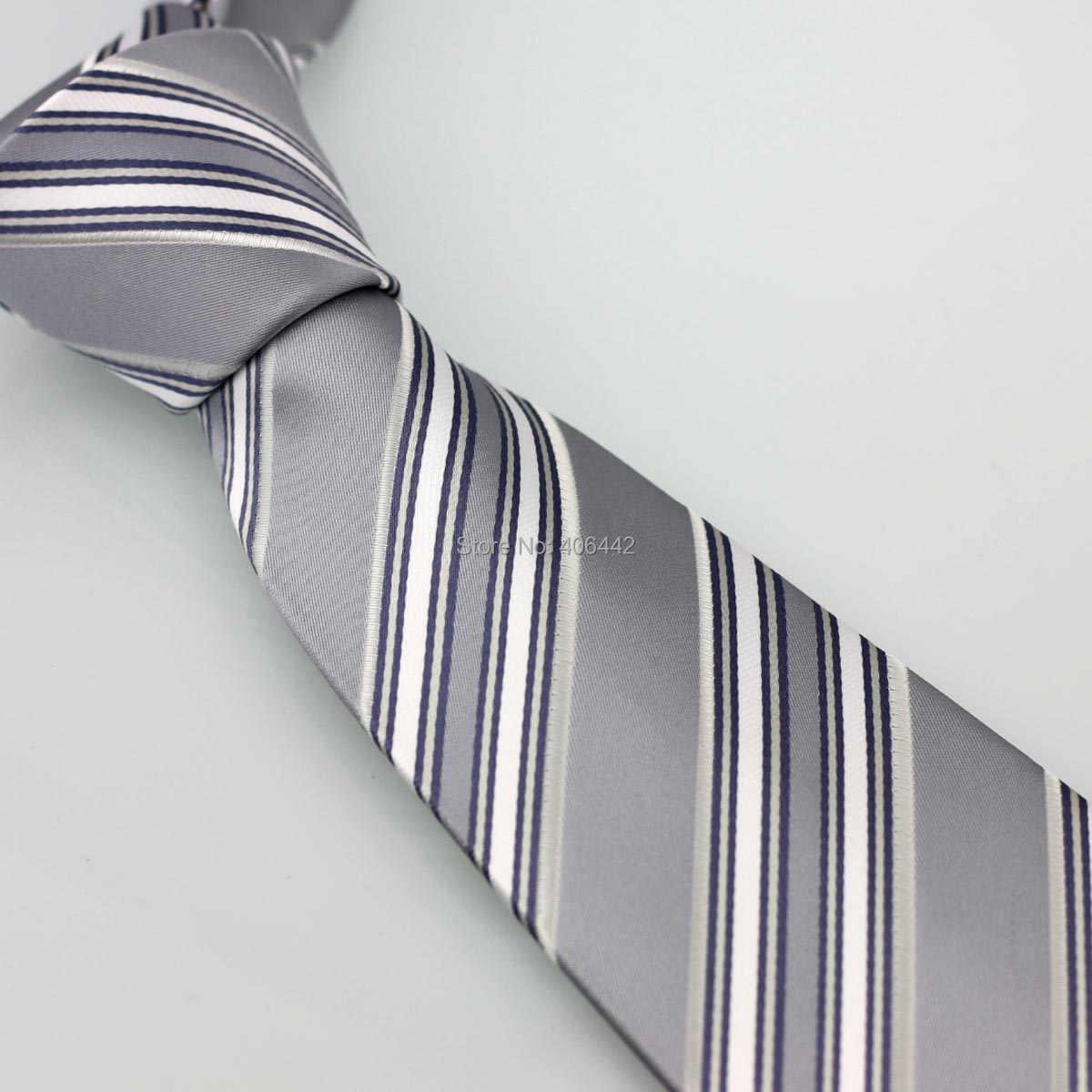 Coachella pria Abu-abu Dengan Putih Diagonal Stripes Jacquard Woven Dasi Formal Neck Tie untuk pria kemeja Pernikahan