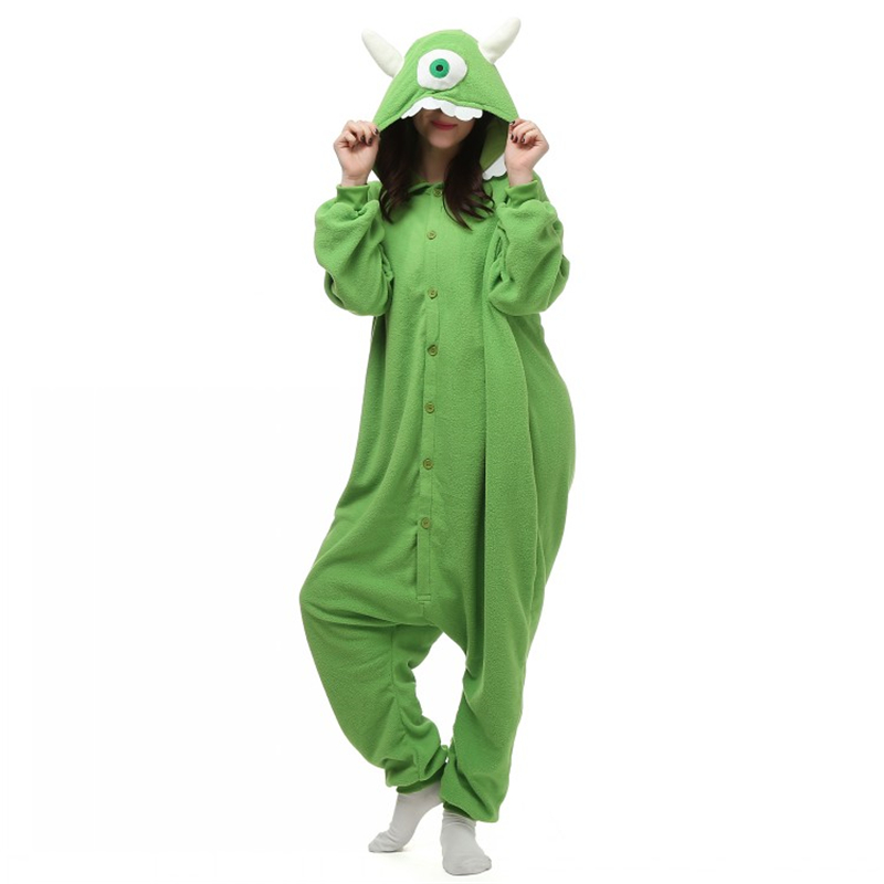 Mike Wazowski Onesie One Eyed Monster Cosplay Costume Fleece Winter Sleepwear Anime Pajamas Onesie Unisex jatektoon FREE SHIPPIN
