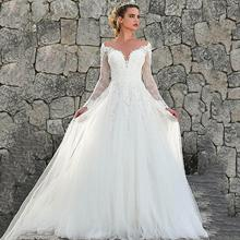 Elegant Long Sleeves Princess Wedding Dress Lace Appliques Illusion Bride A-Line Tulle Back Boho Gown
