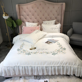 White Pink Gray Yellow Washed Silk Cotton Flowers Embroidery Princess Bedding Set Duvet Cover Bed sheet Fitted Sheet Pillowcases