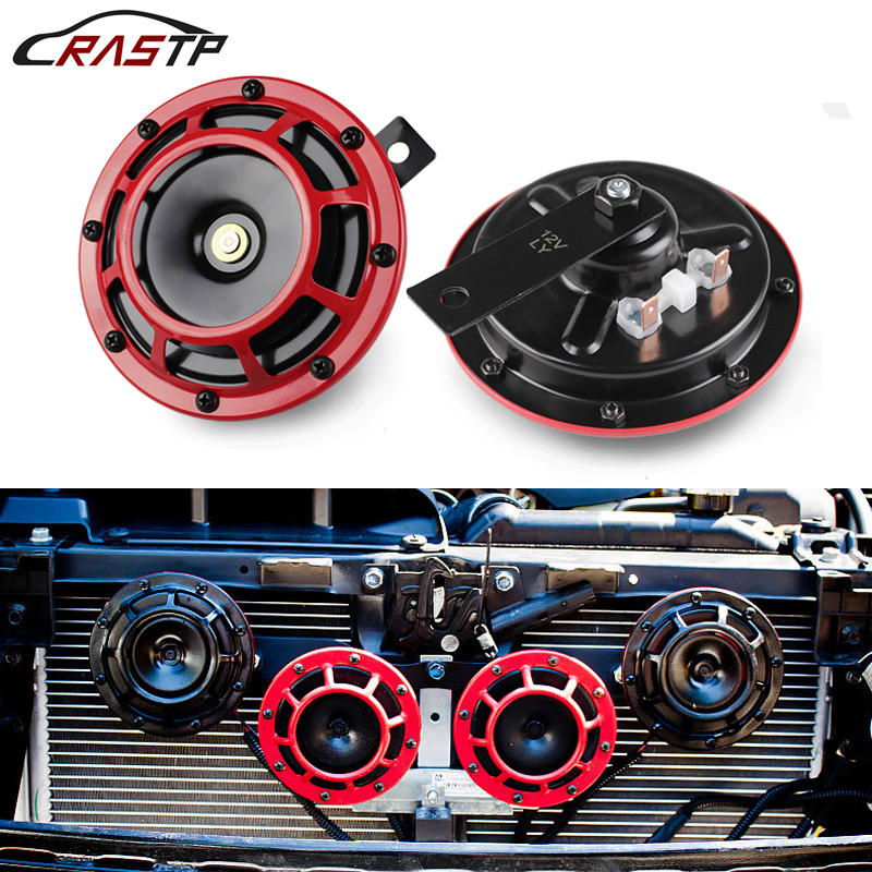 110DB Super Loud Alloy Aluminum Compact Electric Blast Tone Air Horn Kit For Motorcycle And Car red orang black 12v RS BOV014 in Multi tone Claxon Horns from Automobiles Motorcycles