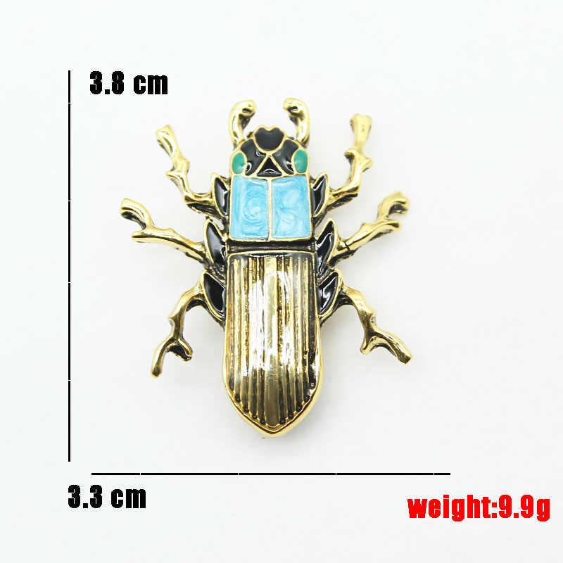 Rhao Klasik Enamel Mata Hijau Beatle Serangga Bros untuk Pria Setelan Korsase Wanita Anak Kerah Topi Syal Klip Jilbab Pin perhiasan