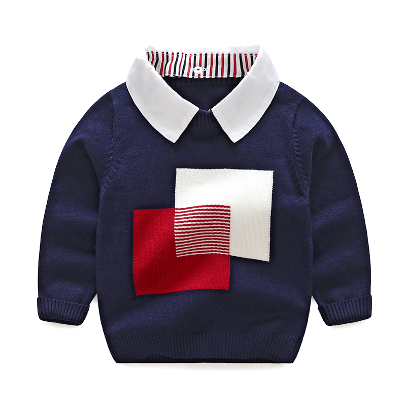 Vinnytido Boys Sweaters Winter 2017 Pullover Sweater Turn-down Collar Children Christmas Sweaters Kids new arrival children sweaters european and american style with shirt collar kids sweaters outerwear pullover boy s sweaters
