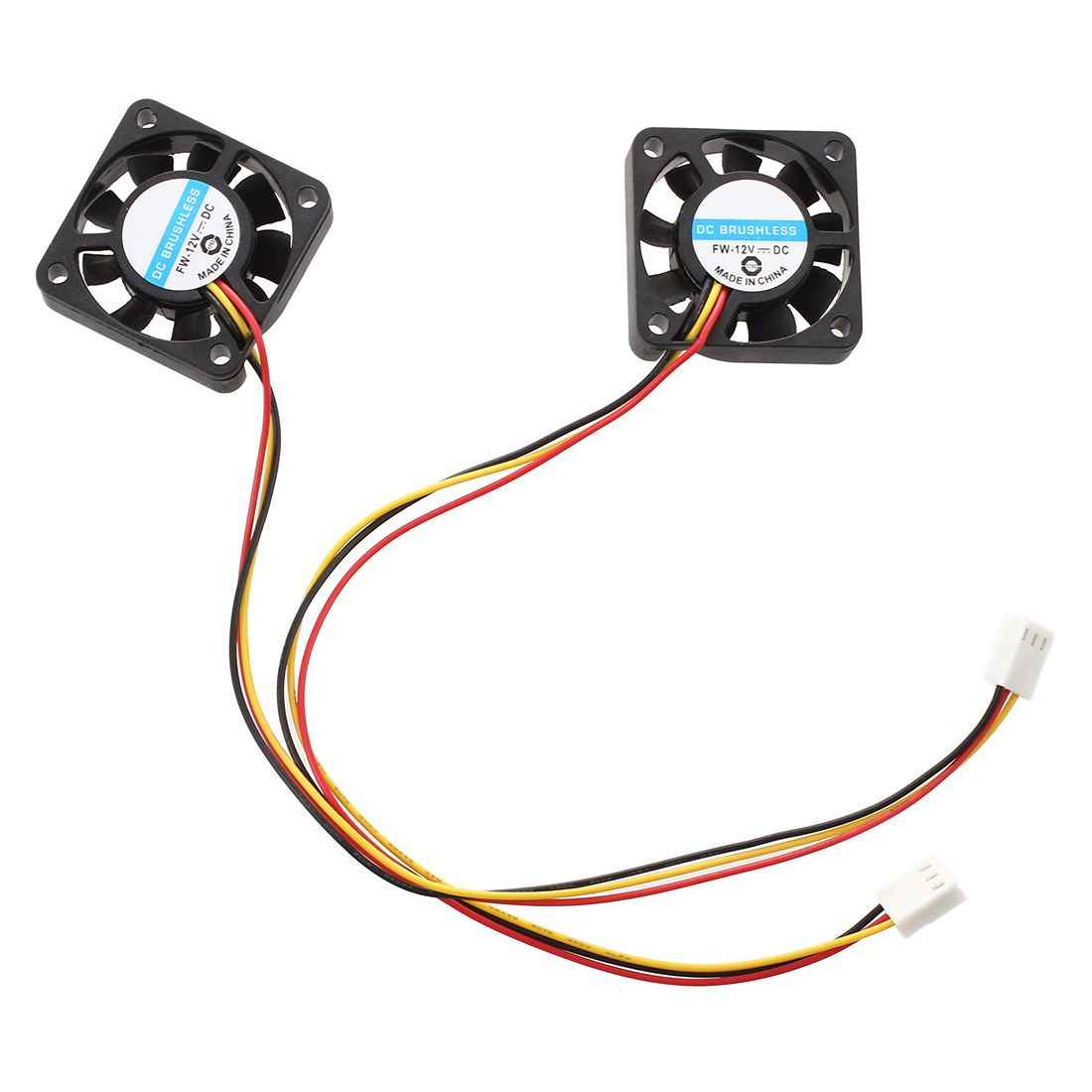 2 Pcs 3 Pin 40 Mm Square Komputer PC Cooling Fan DC 12V Hitam