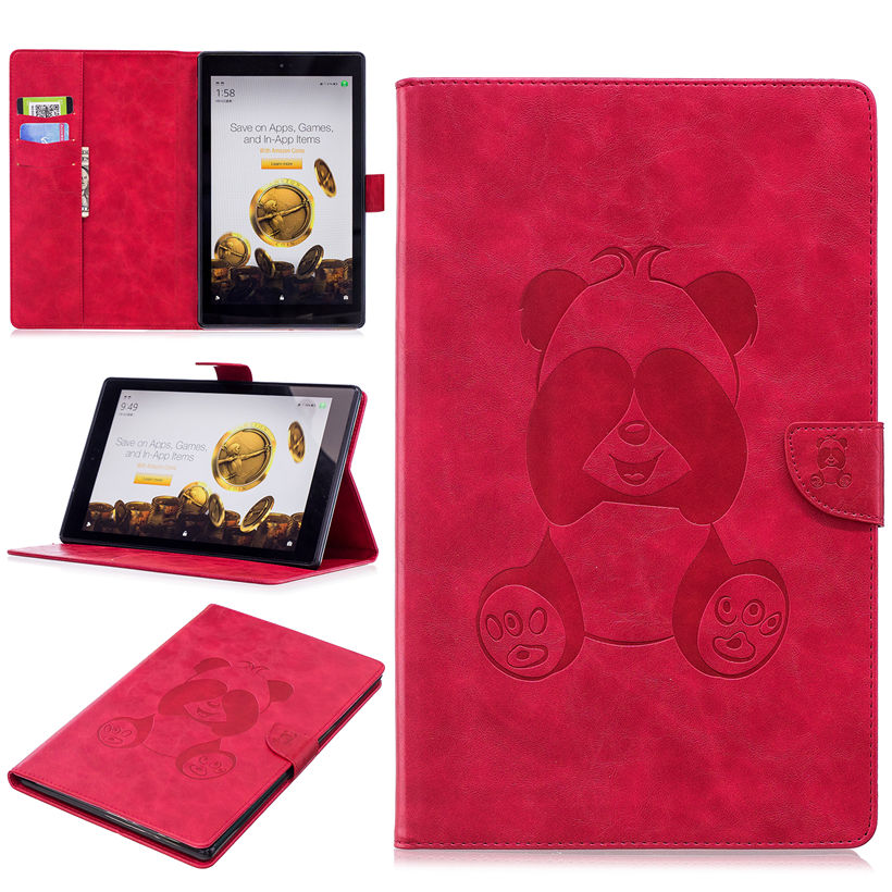 Panda Case For Amazon Kindle All-New Fire HD 10 Tablet with Alexa 10.1 2017 2015 Smart Cover PU Folding Stand Skin Shell for amazon kindle fire hd10 2017 pu leather case cover 10 1 protective stand for amazon new fire hd 10 2015 smart tablet skin