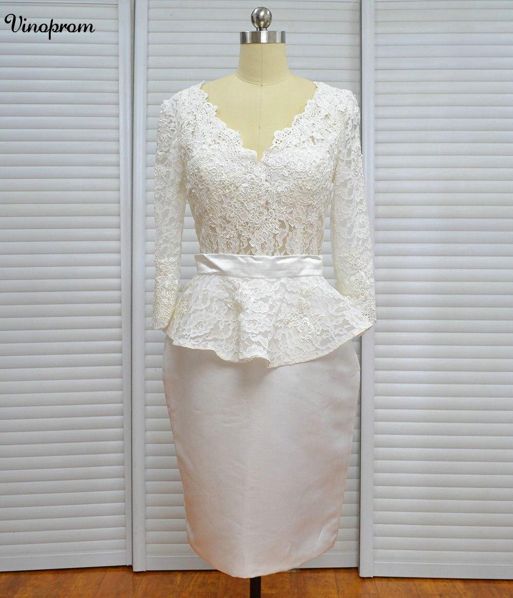 Robe De Mariage New White Ivory Short Wedding Dress Brides Long Sleeves Lace Women Bridal Wedding Gown Vestido De Noiva