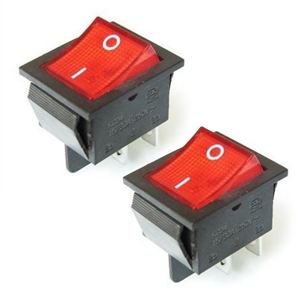2Pcs/Lot Red 4 Pin Light On/off Boat Button Switch 250V 15A AC AMP 125V/20A 10pcs lot ac 6a 250v 10a 125v red light 3 pin on off spst snap in boat rocker switch g205m best quality