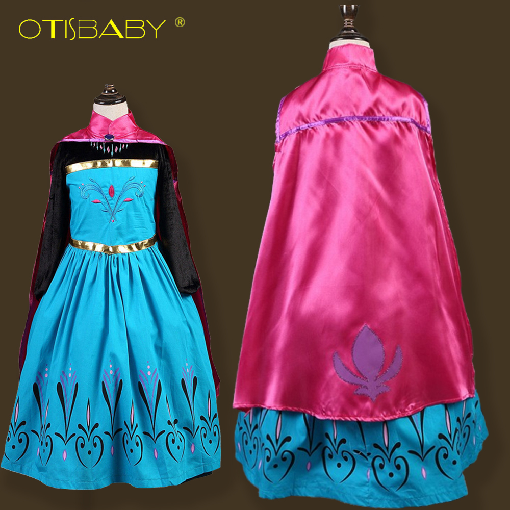 Snow Queen Children's fantasy Anna Dresses for Girls Costumes with Cloak Carnival Girl Clothes Kids Elsa Princess Dress Winter christmas international children s day costumes girls dresses for princess new year birthday dress snow queen kids clothes