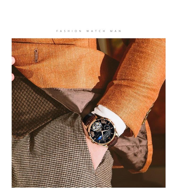 AILANG Quality Tourbillon Men's Watch Men Moon Phase Automatic Swiss Diesel Watches Mechanical Transparent Steampunk Clock
