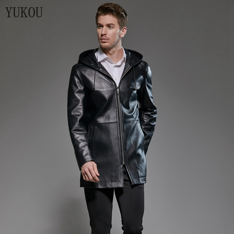 Hot Sellers Mens Coats Long Natural 100% Sheepskin Genuine Leather Hooded Windbreaker  Business Mens Real Sheepskin Jacket(China)