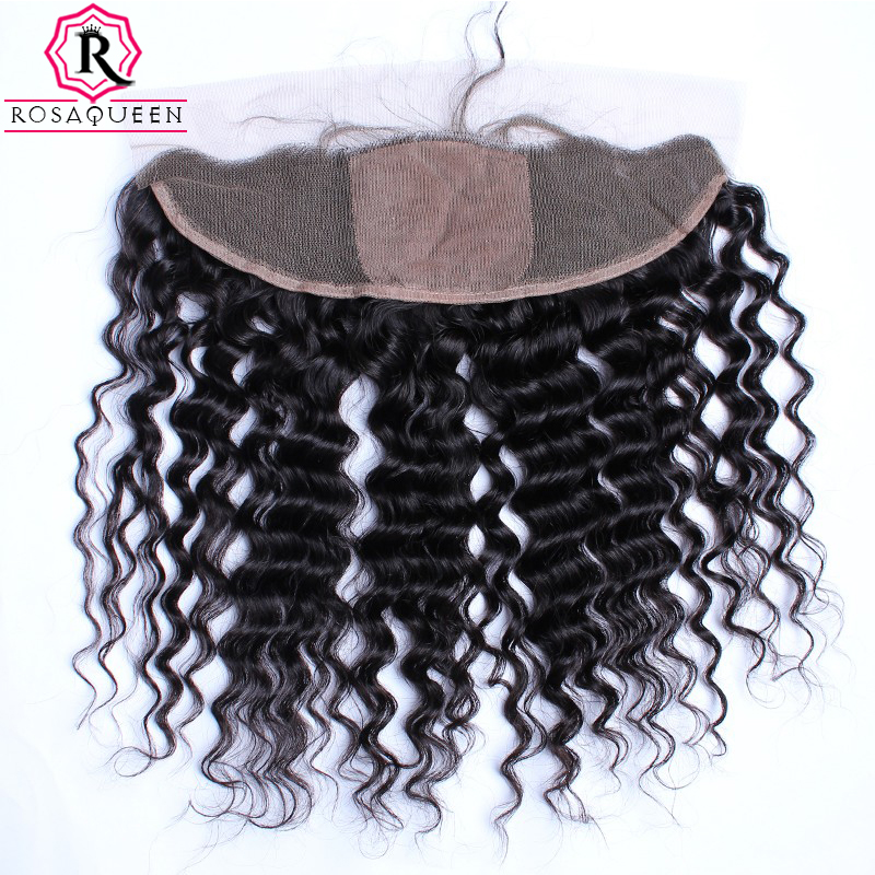 Deep Wave Silk Base Closure Brazilian 13X4 Lace Frontal Closures With Baby Hair Natural Hairline Hair