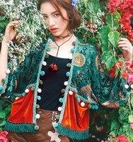 La Tienda de Jessica 2018 Primavera Nuevas Mujeres de La Vendimia Royal V-cuello de La Borla de Encaje Gasa Ocasional Del Remiendo Ultra Suelta Cardigan Blusas