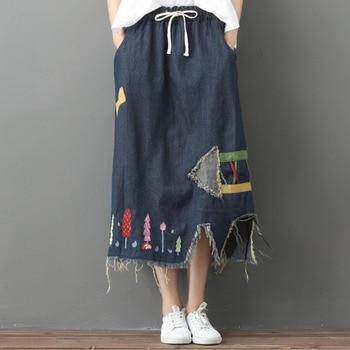 Retro Jeans Vintage Denim Skirt 2019