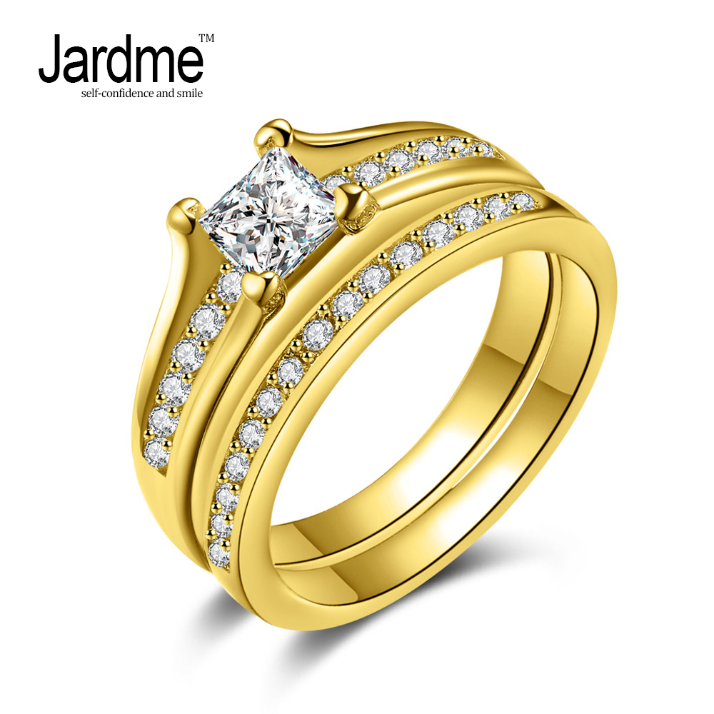 Jardme Jewelry Promise Engagement Double Rings For Couples Men Women Gold Color Pairs Wedding Ring Set for Men and Women U063
