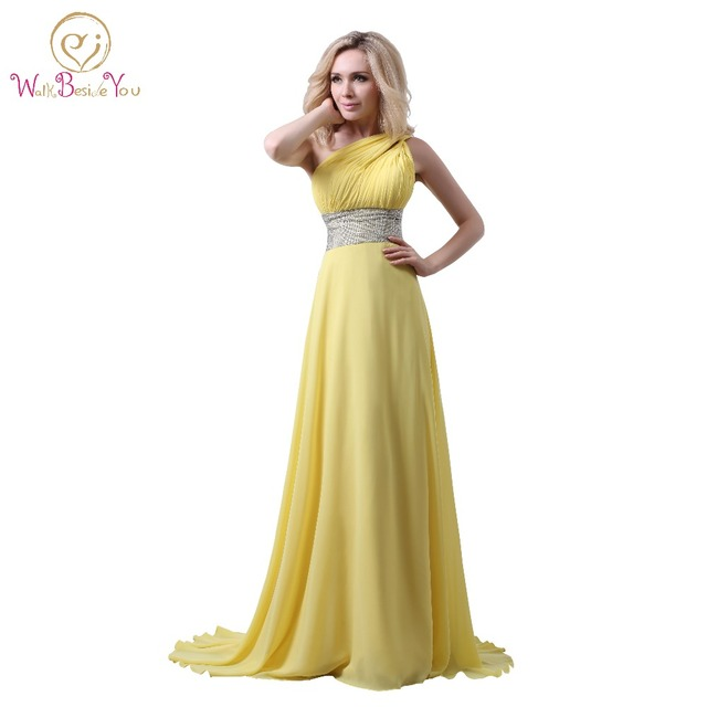 Yellow One Shoulder Prom Dresses A line Chiffon Beaded Floor Length ...