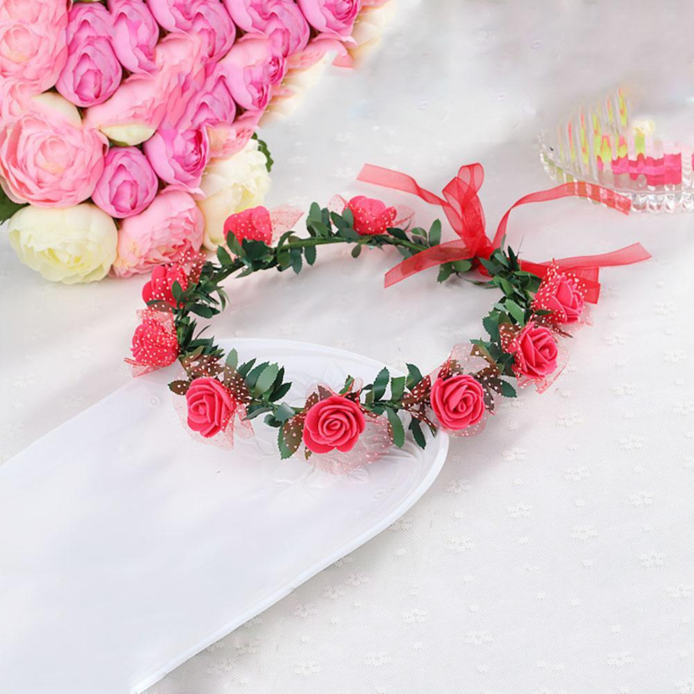 Handmade flower crown delicate head wreath wedding bride girl handmade flower crown delicate head wreath wedding bride girl headpiece romantic red rose headwear crown for lady free ship in hair accessories from izmirmasajfo