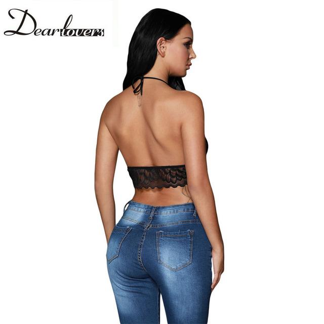 66d8878561dca Black Sheer Scalloped Lace Halter Bralette Top Sexy V neck Backless Lace  Short Crop Top Tanque De Renda Top LC250018