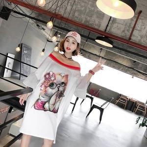 Image 3 - 2020 verão casual slash neck vestidos femininos lantejoulas dos desenhos animados apliques alargamento manga vestidos chiques