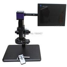 HD HDMI USB Industria Digital Cámara + soporte de ajuste Fino + 10X-200X Microscopio C-mount Lente + 144 LED luz + Monitor de $ number pulgadas