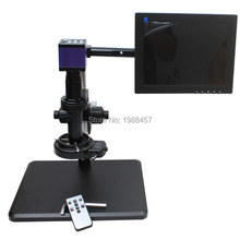 Buy online HDMI HD USB Digital Industry Microscope Camera+Fine adjustment bracket+10X-200X C-Mount Lens+144 LED Light+10-inch Monitor